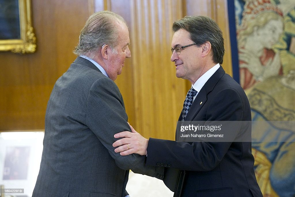 King Juan Carlos of Spain attends an audience with President of the Catalonian regional government <a gi-track='captionPersonalityLinkClicked' href=/galleries/search?phrase=Artur+Mas&family=editorial&specificpeople=712829 ng-click='$event.stopPropagation()'>Artur Mas</a> at Zarzuela Palace on January 31, 2013 in Madrid, Spain.