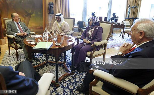 King Juan Carlos of Spain attends an audience with the Foreign Minister of UAE Sheikh Abdullah bin Nahvan Zaved Ambassador of the United Arab...