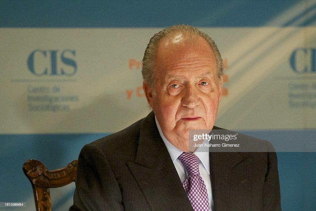 King Juan Carlos of Spain attends 'Sociology and Science Politics 2012 Awards' ( Premio Nacional de Solciologia Y Ciencia Politica 2012) at Zurbano Palace on February 12, 2013 in Madrid, Spain.