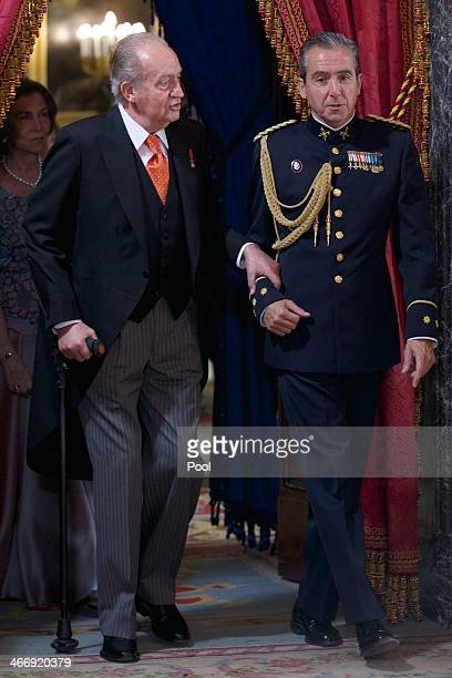 King Juan Carlos of Spain attends the annual Foreign Ambassadors reception at the Royal Palace on February 5 2014 in Madrid Spain