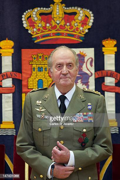King Juan Carlos of Spain attends the closure of 'The General Staff of the Spanish Army' Academic Year on June 29 2012 in Madrid Spain