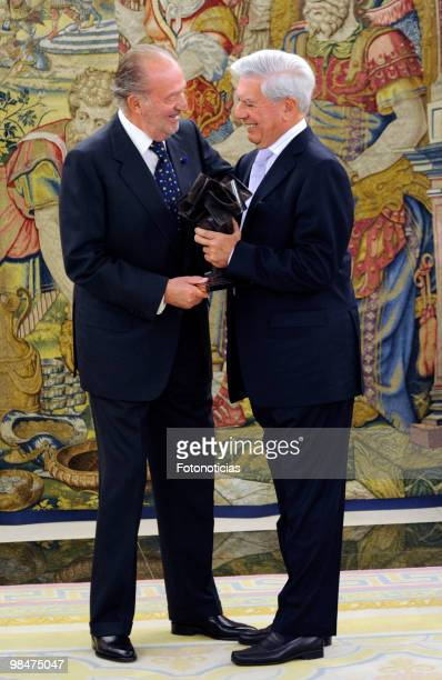 King Juan Carlos of Spain delivers 'Don Quijote De La Mancha' International Award to writer Mario Vargas Llosa at Zarzuela Palace on April 15 2010 in...
