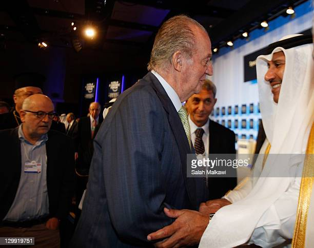 King Juan Carlos of Spain greets Qatari Prime Minister and Minister of Foreign Affairs Sheikh Hamad Bin Jassim Bin Jabr Al Thani during his...