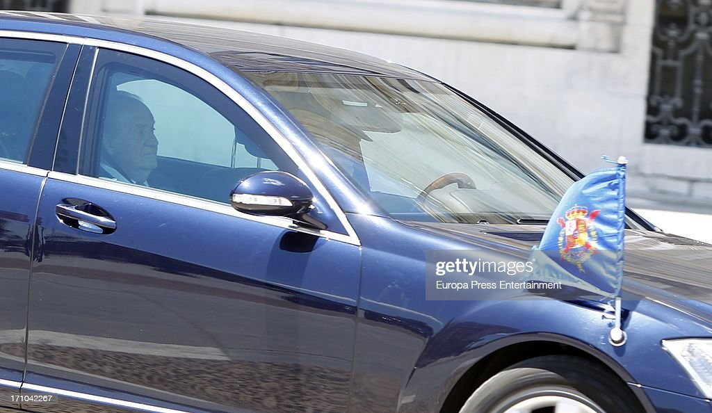 King Juan Carlos of Spain is seen leaving Royal Palace after the mass commemorating the centenary of the birth of Don Juan de Borbon on June 20, 2013 in Madrid, Spain.