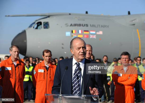 King Juan Carlos of Spain makes a speech after the first flight of the Airbus SAS A400M at the Airbus facility in Seville Spain on Friday Dec 11 2009...