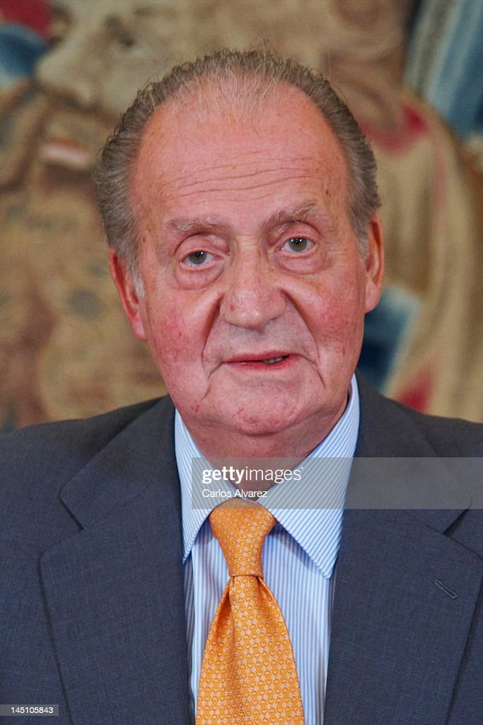 King Juan Carlos of Spain meets Cotec Foundation members at Zarzuela Palace on May 23, 2012 in Madrid, Spain.