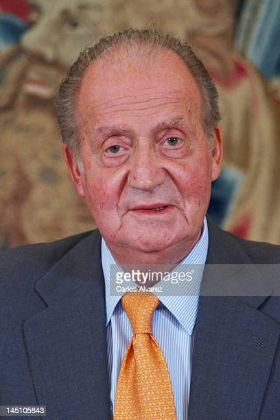 King Juan Carlos of Spain meets Cotec Foundation members at Zarzuela Palace on May 23 2012 in Madrid Spain