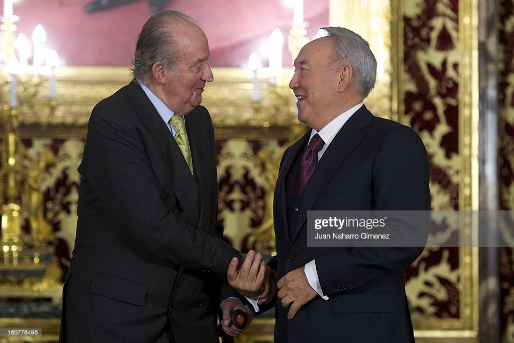 King Juan Carlos of Spain meets with President of the Republic of Kazajistan Nursultan Nazarbayev at Real Palace on February 5, 2013 in Madrid, Spain.