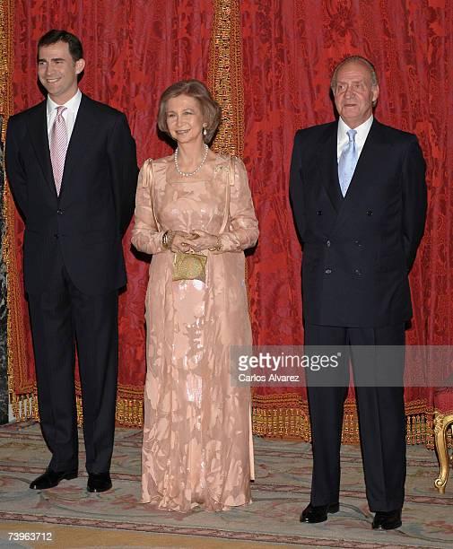 King Juan Carlos of Spain Queen Sofia of Spain and Crown Prince Felipe of Spain await to receive Pakistan President Pervez Musharraf and wife Sehba...