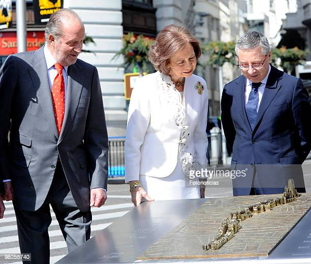 King Juan Carlos of Spain Queen Sofia of Spain and Minister Jose Blanco attend Gran Via Street centennial celebrations on April 5 2010 in Madrid Spain