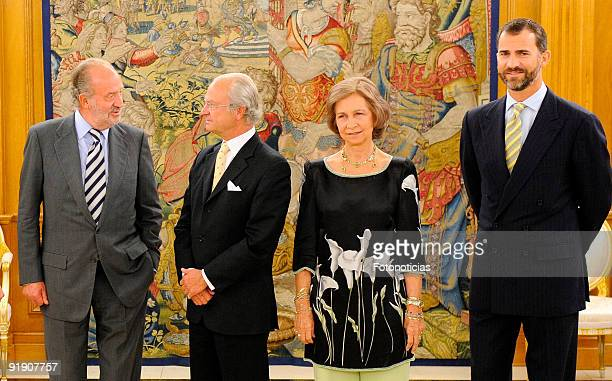 King Juan Carlos of Spain Queen Sofia of Spain and Prince Felipe of Spain greet King Carl Gustav of Sweden to the Zarzuela Palace on September 23...