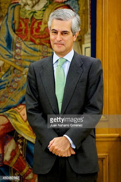 King Juan Carlos of Spain receives Adolfo Suarez Illana to return the necklace Illustrious Order of the Toison de Oro at Zarzuela Palace on June 12...