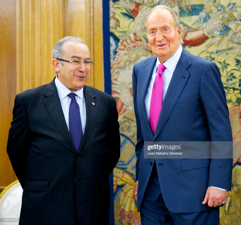 King Juan Carlos of Spain receives Algerian minister of foreign affairs <a gi-track='captionPersonalityLinkClicked' href=/galleries/search?phrase=Ramtane+Lamamra&family=editorial&specificpeople=5486120 ng-click='$event.stopPropagation()'>Ramtane Lamamra</a> (L) at Zarzuela Palace on February 27, 2014 in Madrid, Spain.