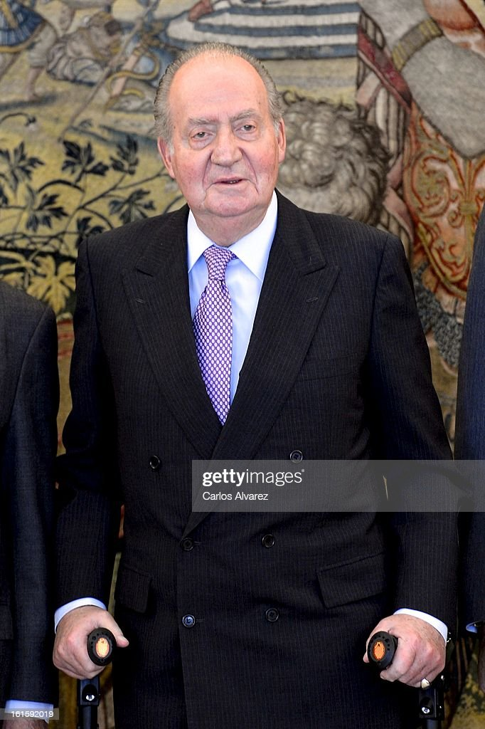 King Juan Carlos of Spain receives former Chilean President Ricardo Lagos (L) at Zarzuela Palace on February 12, 2013 in Madrid, Spain.
