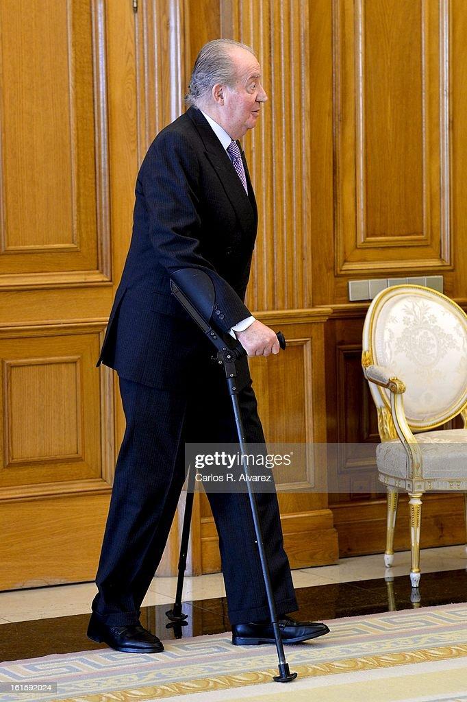 King Juan Carlos of Spain receives former Chilean President Ricardo Lagos (L) at Zarzuela Palace on February 12, 2013 in Madrid, Spain.
