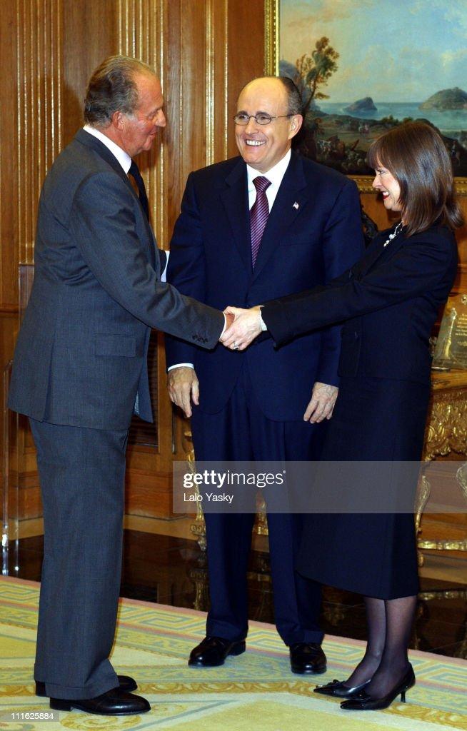 King Juan Carlos of Spain receives former NYC Mayor Rudy Giuliani and Judith Nathan