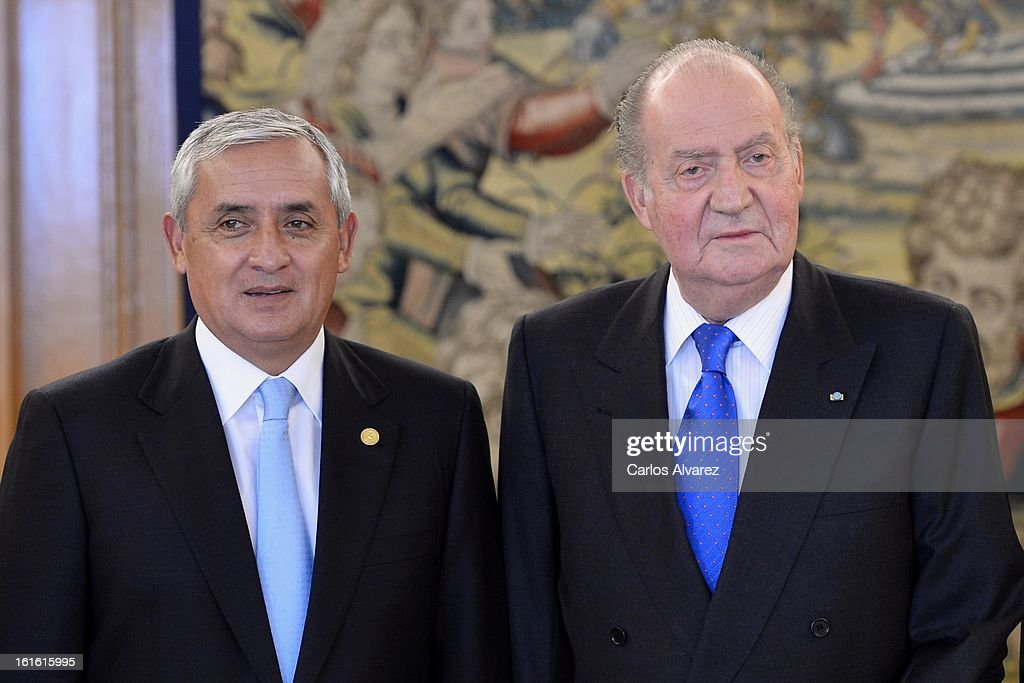 King Juan Carlos of Spain receives Guatemalan President Otto Perez Molina at Zarzuela Palace on February 13 2013 in Madrid Spain