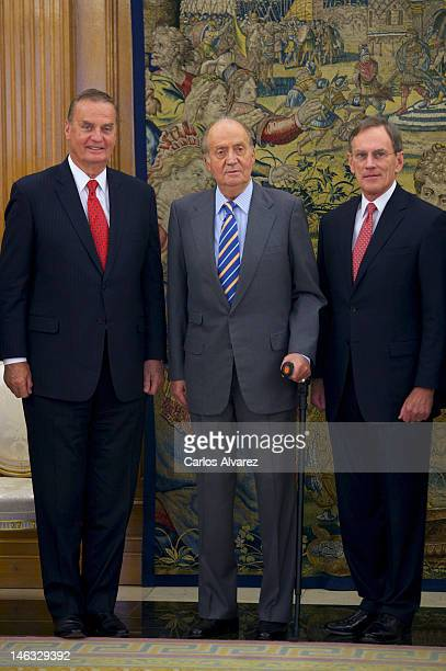 King Juan Carlos of Spain receives Jay L Johnson President of General Dynamics Corporation and James L Jones Director of General Dynamics Corporation...
