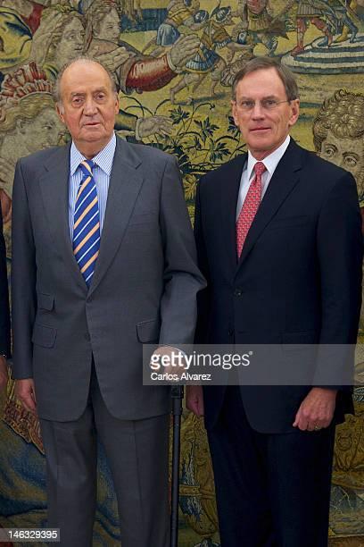 King Juan Carlos of Spain receives Jay L Johnson President of General Dynamics Corporation at Zarzuela Palace on June 14 2012 in Madrid Spain