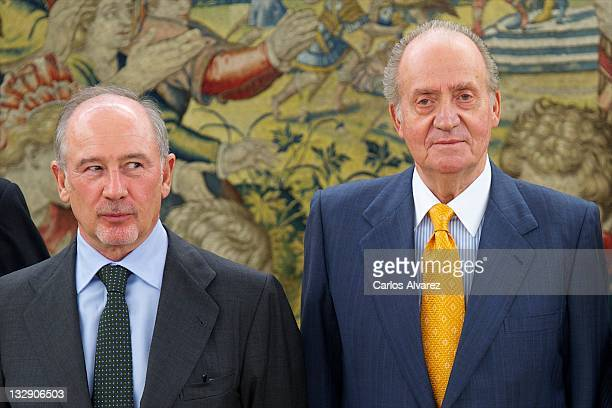 King Juan Carlos of Spain receives Spain's bank 'Bankia' President Rodrigo Rato at Zarzuela Palace on November 15 2011 in Madrid Spain