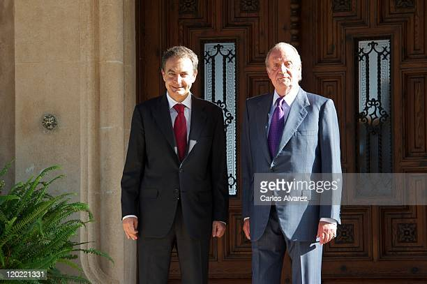 King Juan Carlos of Spain receives Spanish President Jose Luis Rodriguez Zapatero at Marivent Palace on August 1 2011 in Palma de Mallorca Spain