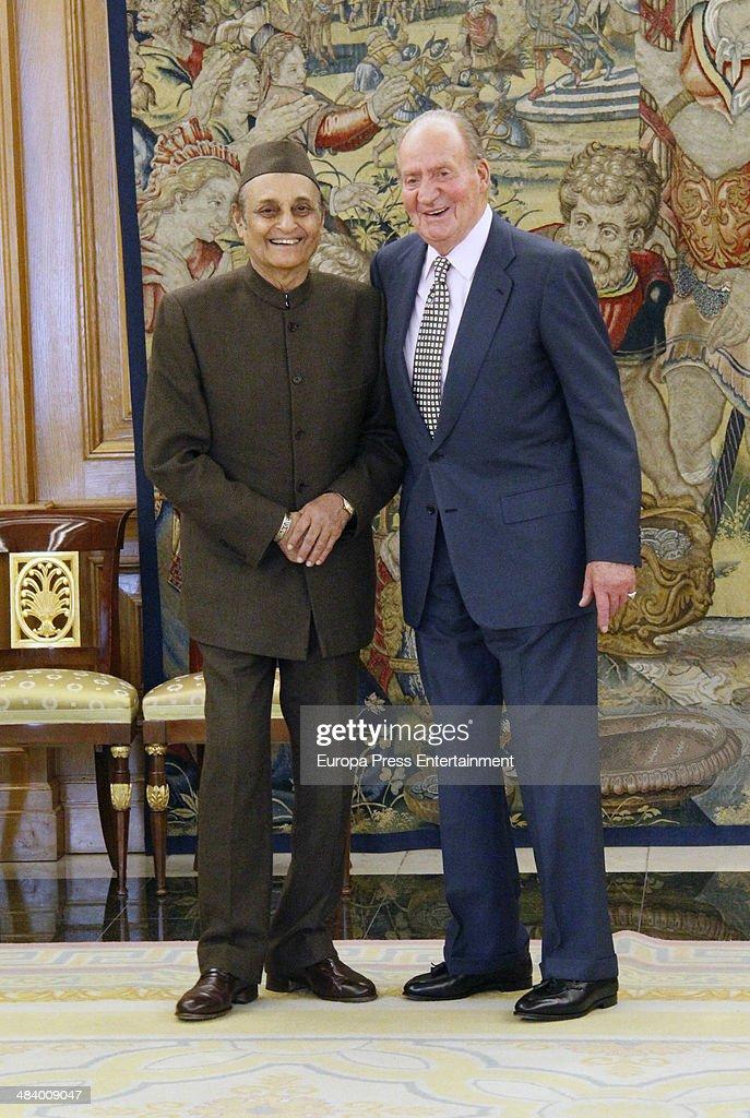King Juan Carlos of Spain Reveives Karan Singh At Zarzuela Palace