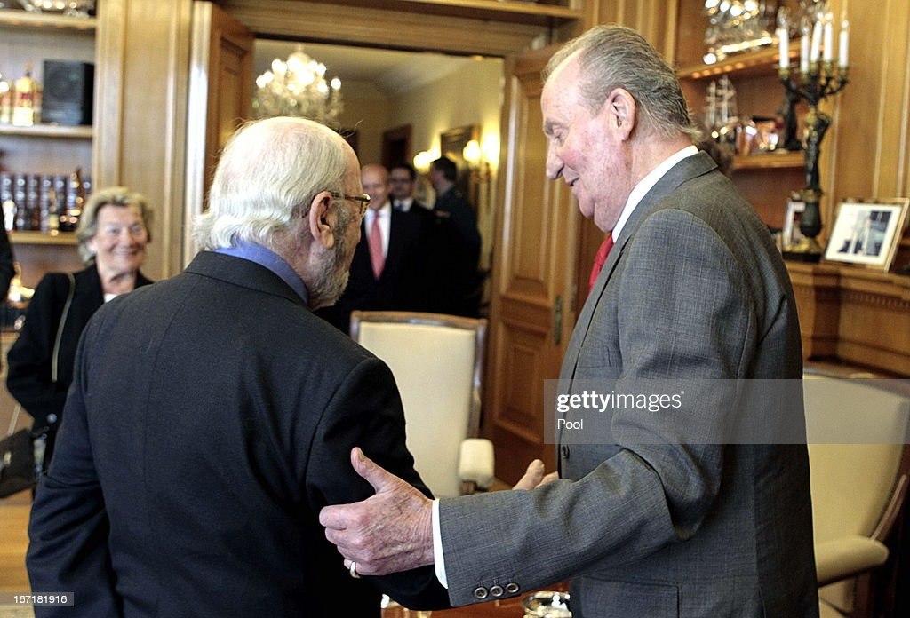 King Juan Carlos of Spain talks to Jose Manuel Caballero Bonald, awarded the Cervantes Prize 2012, during an audience granted by the Queen on April 22, 2013 in Madrid, Spain. With this hearing the King has resumed public official activities in the Zarzuela Palace, month and a half after undergoing double hernia surgery.