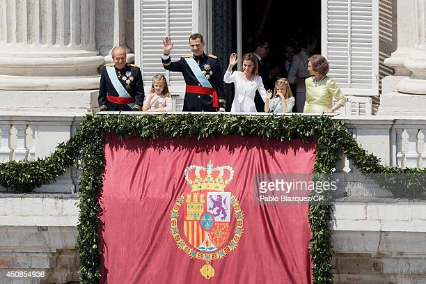 King Juan Carlos Princess Leonor King Felipe VI of Spain Queen Letizia of Spain Princess Sofia and Queen Sofia greet wellwishers from the balcony of...