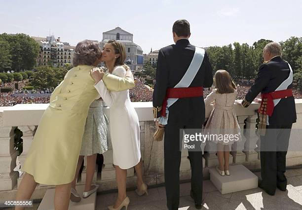King Juan Carlos Princess Leonor Princess of Asturias King Felipe VI of Spain Queen Letizia of Spain Princess Sofia and Queen Sofia greet crowds of...