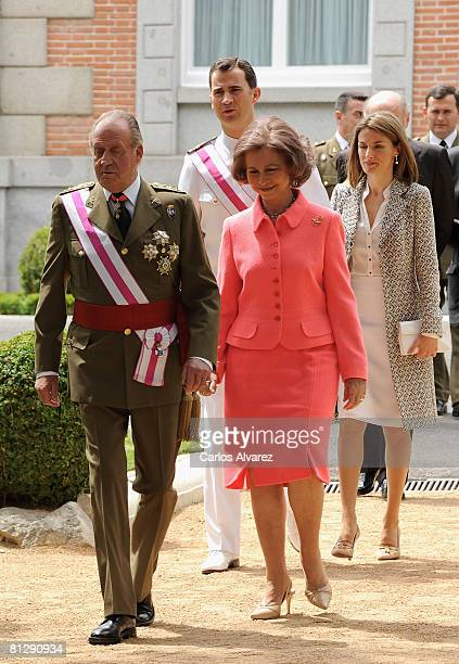 King Juan Carlos Queen Sofia Crown Prince Felipe and Princess Letizia of Spain receive Members of Royal and Military Orders at the Zarzuela Palace on...