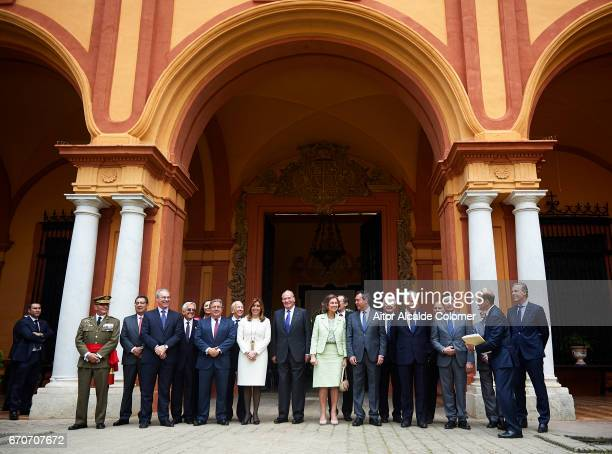 King Juan Carlos Queen Sofia President od Andalusia Susana Diaz Mayor of Seville Juan Espadas and former President of Spain Felipe Gonzalez attends...