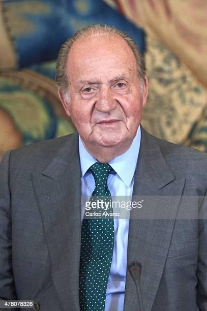 King Juan Carlos receives COTEC Foundation members at the Zarzuela Palace on June 22 2015 in Madrid Spain