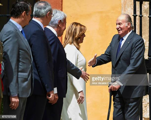 King Juan Carlos shake hands with Juan Espadas Mayor of Seville during the 25th Anniversary Tribute Of 'Seville Universal Exhibition' on April 20...