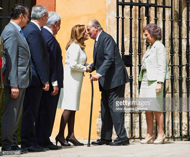 King Juan Carlos shake hands with President of Andalusia Susana Diaz during the 25th Anniversary Tribute Of 'Seville Universal Exhibition' on April...