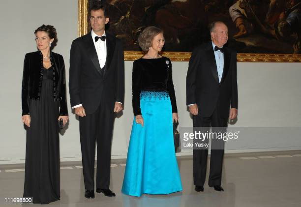 TM King Juan CarlosQueen Sofia TRH Prince Felipe and Princess Letizia attend a gala dinner for the opening of the El Prado museum extension at Cason...