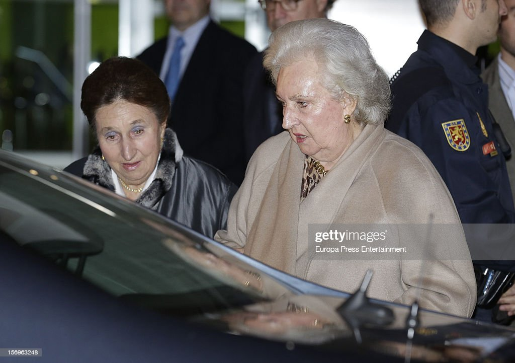 King Juan Carlos's sisters Princess Pilar (R) and Princess Margarita visit King Juan Carlos of Spain on November 25, 2012 in Madrid, Spain. King Juan Carlos of Spain underwent an operation on his left hip.