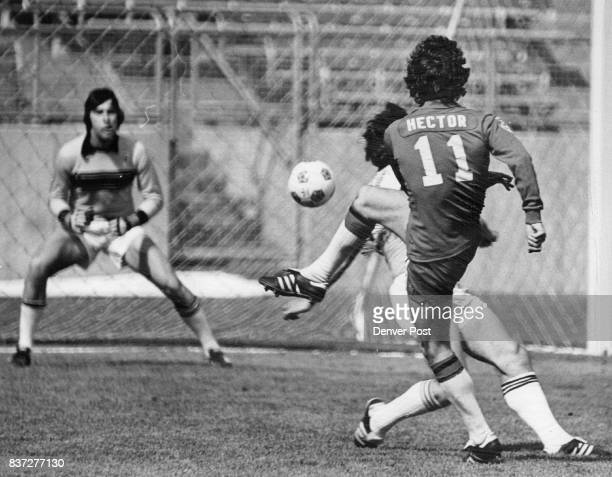 41978 APR 23 1978 'King Kevin' Hector Unleashes shot on Caribous goal Mausser defending in goal mouth for Caribous Credit Denver Post