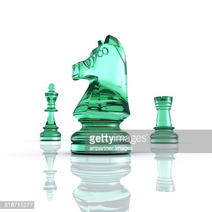 King Knight and Rook of a Chess Game on white
