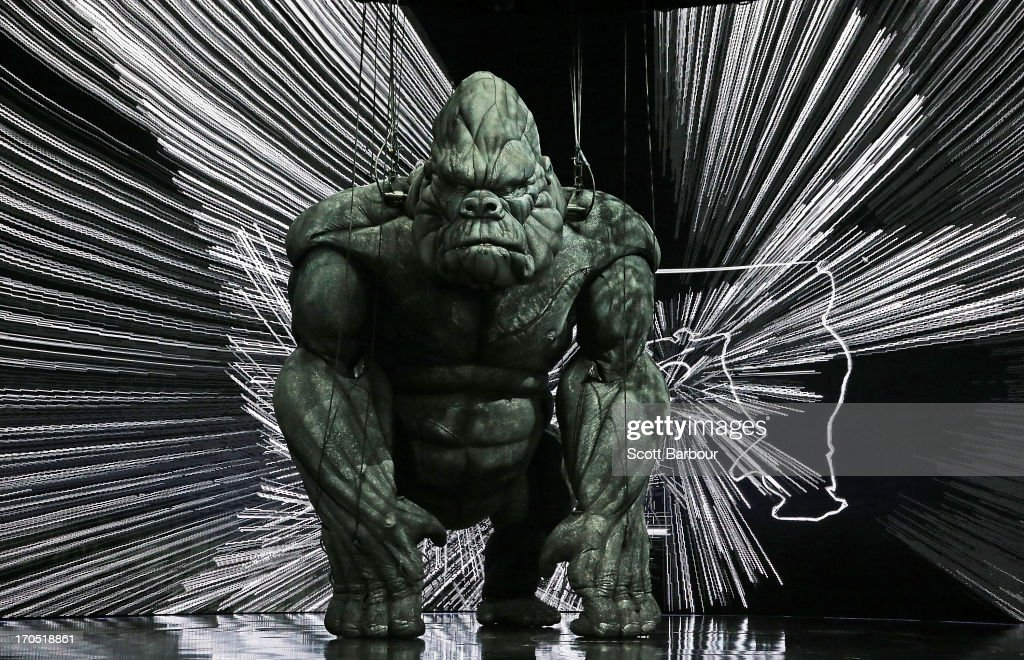 King Kong poses on stage during a 'King Kong' production media call at the Regent Theatre on June 14, 2013 in Melbourne, Australia. Based on the novel of the original 1933 screenplay and five years in the making, the new music theatre event King Kong will have its world premiere on June 15th.