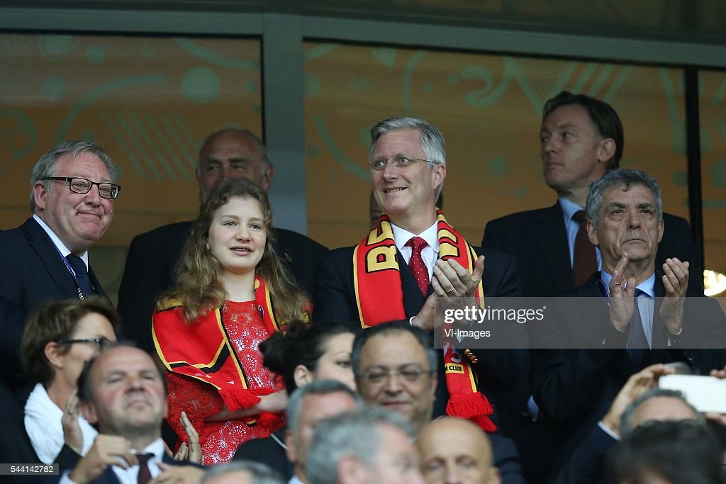 king, koning, Filip of Belgi during the UEFA EURO 2016 quarter final match between Wales and Belgium on July 2, 2016 at the Stade Pierre Mauroy in Lille, France.