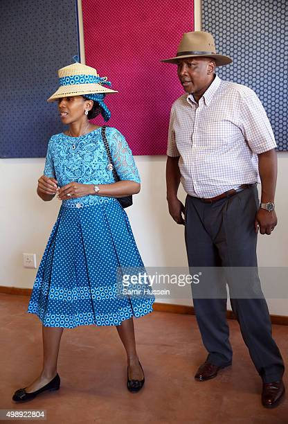 King Letsie III and Queen Letsie of Lesotho are seen during Prince Harry's official visit to Africa on November 26 2015 in Maseru Lesotho