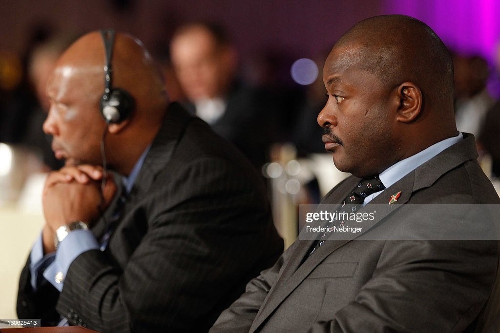 King <a gi-track='captionPersonalityLinkClicked' href=/galleries/search?phrase=Letsie+III&family=editorial&specificpeople=572600 ng-click='$event.stopPropagation()'>Letsie III</a> of Lesotho and president of the Republic of Burundi <a gi-track='captionPersonalityLinkClicked' href=/galleries/search?phrase=Pierre+Nkurunziza&family=editorial&specificpeople=563215 ng-click='$event.stopPropagation()'>Pierre Nkurunziza</a> attend Plenary Sessions at the Peace & Sport 5th International Forum at Hotel Fairmont on October 27, 2011 in Monaco, Monaco.
