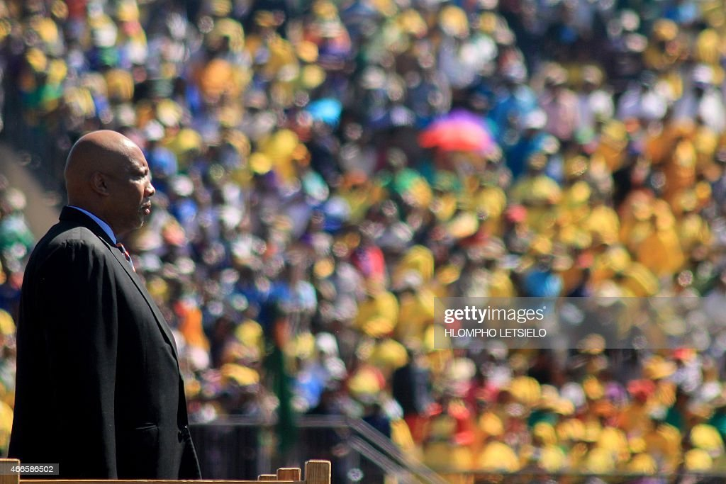 King <a gi-track='captionPersonalityLinkClicked' href=/galleries/search?phrase=Letsie+III&family=editorial&specificpeople=572600 ng-click='$event.stopPropagation()'>Letsie III</a> of Lesotho watches a parade on March 17, 2015 during the inauguration ceremony of the new prime minister in Maseru.