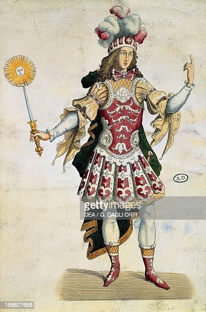 King Louis XIV in ball dress engraving France 17th century Paris Bibliothèque Des Arts Decoratifs