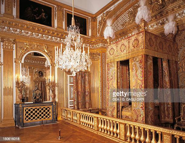 King Louis XIV's bed in the king's bedchamber Palace of Versailles France