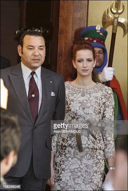 King Mohamed VI and Wife Lalla Salma in Marrakech Morocco on January 17 2005