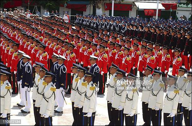 King Mohammed presides oath taking ceremony for military cadets in Morocco on July 31st 2005
