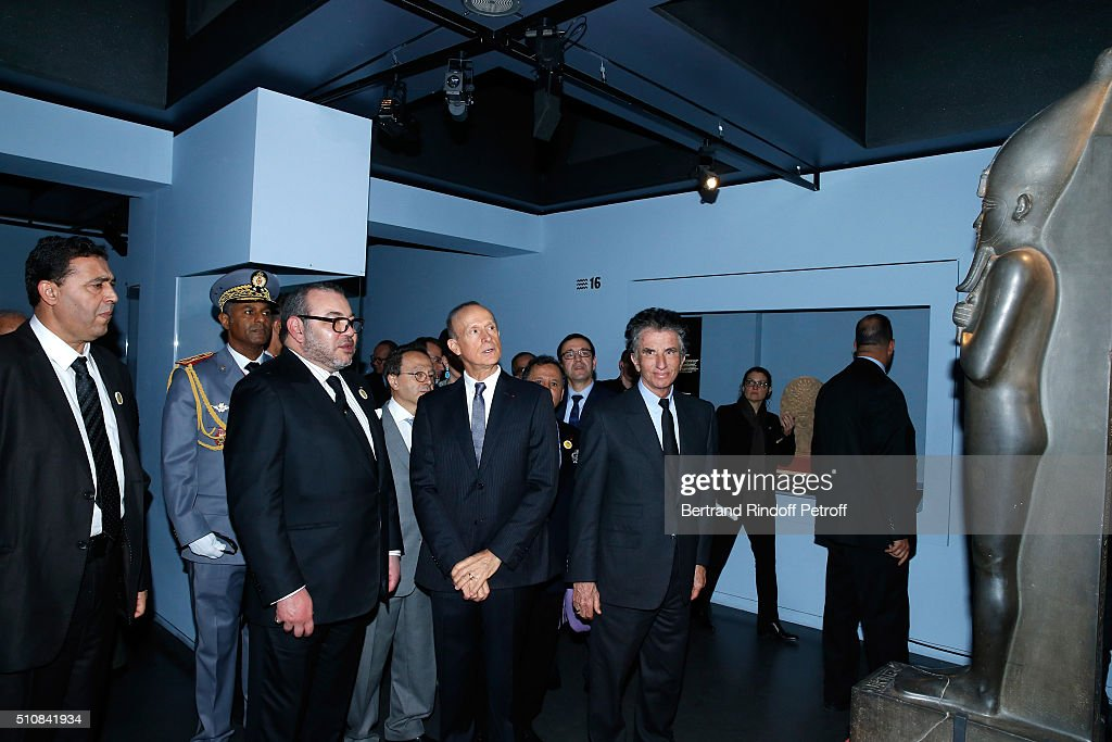 King Mohammed VI of Morocco, Curator of the exhibition Franck Goddio and President of the 'Institut du Monde Arabe' Jack Lang visit the 'Osiris, Mysteres Engloutis d'Egypte' Exhibition after King Mohammed VI of Morocco and French President Francois Hollande present the project to create a Cultural Center of Morocco in 'Saint-Germain des Pres'. Held at Institut du Monde Arabe on February 17, 2016 in Paris, France.