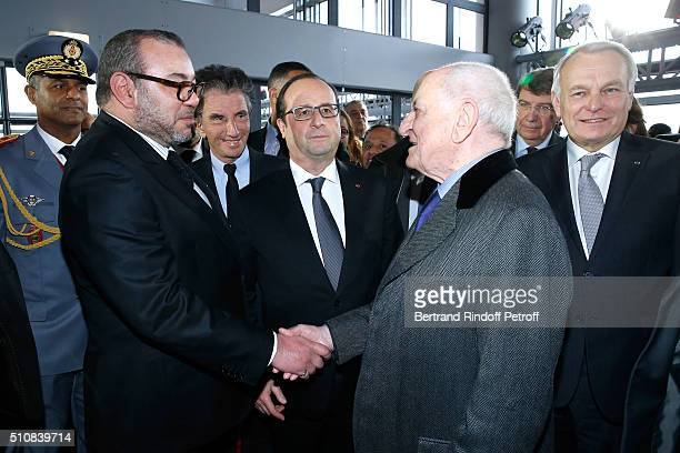 King Mohammed VI of Morocco President of the 'Institut du Monde Arabe' Jack Lang French President Francois Hollande Pierre Berge and Minister of...