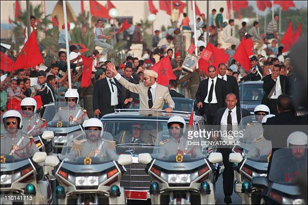 King Mohammed VI of Morocco visits cities of the Saharian provinces in Morocco on November 01 2001